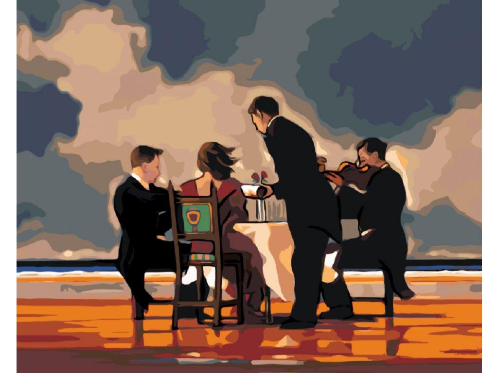 Malování podle čísel - VEČEŘE NA PLÁŽI (Rámování vypnuté plátno na rám, Rozměr 80x100 cm)