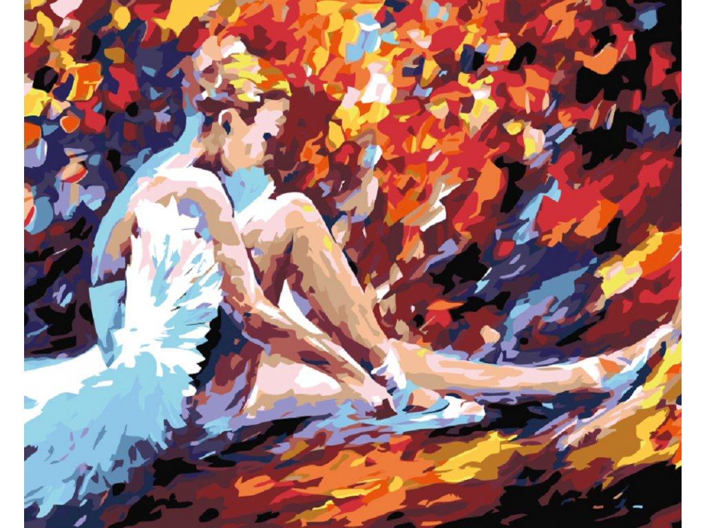 Malování podle čísel - SEDÍCÍ BALETKA (Rámování vypnuté plátno na rám, Rozměr 80x100 cm)