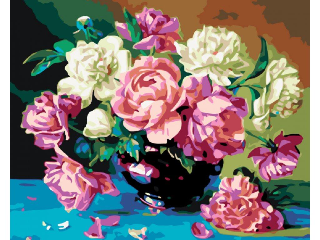Malování podle čísel - A ZASE PIVOŇKY (Rámování vypnuté plátno na rám, Rozměr 80x100 cm)
