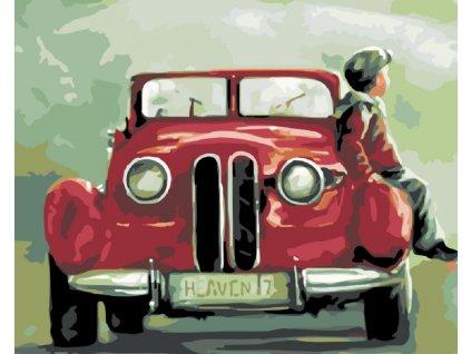 Malování podle čísel - CHLAPEC SEDÍ  NA BLATNÍKU (Rámování vypnuté plátno na rám, Rozměr 80x100 cm)