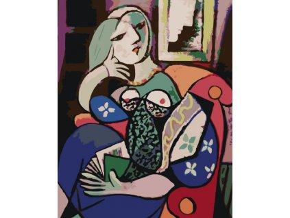 Malování podle čísel - ŽENA S KNIHOU V OBÝVACÍM POKOJI (Rámování vypnuté plátno na rám, Rozměr 80x100 cm)