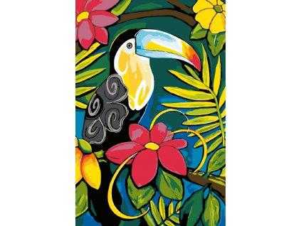 Malování podle čísel - TUKAN MEZI KVĚTINAMI (Rámování vypnuté plátno na rám, Rozměr 80x120 cm)