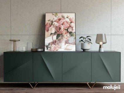 Malování podle čísel - ABSTRAKTNÍ KŮŇ TMAVĚ MODRÝ (Rámování vypnuté plátno na rám, Rozměr 80x100 cm)