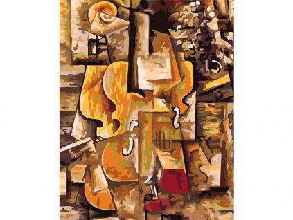 Malování podle čísel - Malování podle čísel - HOUSLE A HROZNY (PICASSO) (Rámování vypnuté plátno na rám, Rozměr 80x100 cm)
