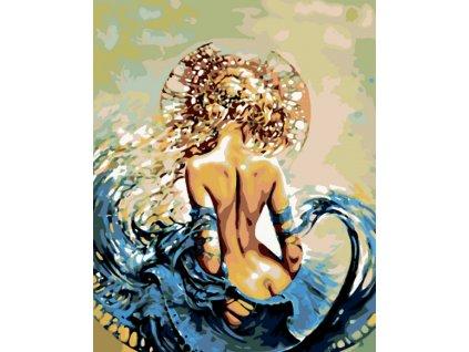 Malování podle čísel - ŽENA VE VLNÁCH (Rámování vypnuté plátno na rám, Rozměr 80x100 cm)