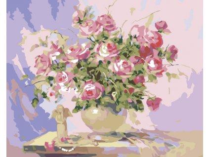 Malování podle čísel - MALÝ ANDÍLEK A RŮŽE (Rámování vypnuté plátno na rám, Rozměr 80x100 cm)