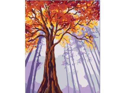 Malování podle čísel - VYSOKÝ PODZIMNÍ STROM (Rámování vypnuté plátno na rám, Rozměr 80x100 cm)