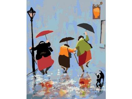 Malování podle čísel - TRIO ŽEN V DEŠTI (Rámování vypnuté plátno na rám, Rozměr 80x100 cm)
