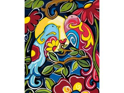 Malování podle čísel - KVĚTINOVÁ MALBA S PTÁČKY (Rámování vypnuté plátno na rám, Rozměr 80x100 cm)