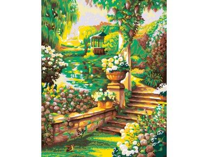 Malování podle čísel - KRÁSNÁ KVĚTINOVÁ ZAHRÁDKA S ALTÁNEM (Rámování vypnuté plátno na rám, Rozměr 80x100 cm)