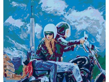Malování podle čísel - VYJÍŽĎKA NA MOTORCE (Rámování vypnuté plátno na rám, Rozměr 80x100 cm)