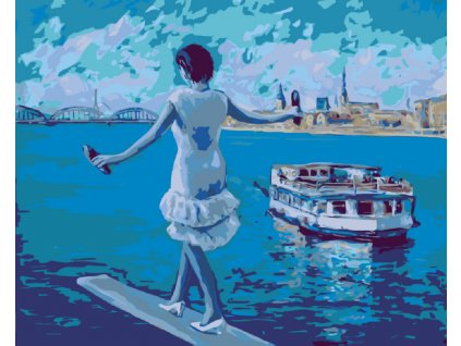 Malování podle čísel - BALANCOVÁNÍ NAD MOŘEM A PLUJÍCÍ LOĎ (Rámování vypnuté plátno na rám, Rozměr 80x100 cm)