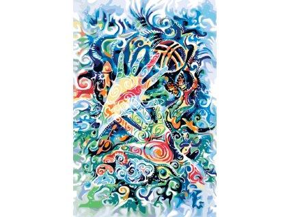 Malování podle čísel - MAGICKÉ RUCE (Rámování vypnuté plátno na rám, Rozměr 80x120 cm)