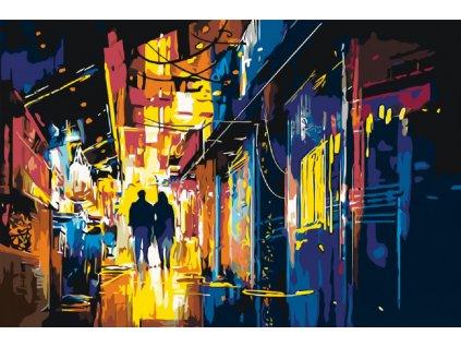 Malování podle čísel - NOČNÍ ULICE (Rámování vypnuté plátno na rám, Rozměr 80x120 cm)