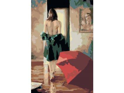 Malování podle čísel - SVLÉKAJÍCÍ SE ŽENA A ODLOŽENÝ DEŠTNÍK (Rámování vypnuté plátno na rám, Rozměr 80x120 cm)