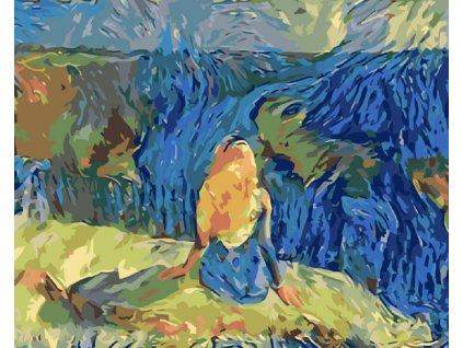 Malování podle čísel - DÍVKA U VODY (Rámování vypnuté plátno na rám, Rozměr 80x100 cm)