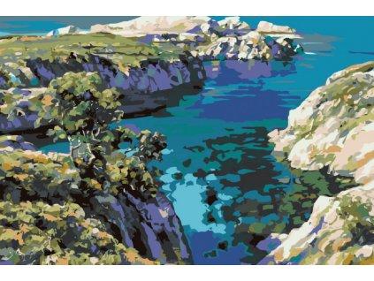 Malování podle čísel - VYČNÍVAJÍCÍ SKÁLY NAD MOŘEM (Rámování vypnuté plátno na rám, Rozměr 80x120 cm)
