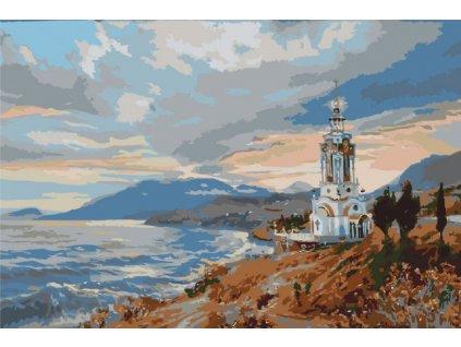 Malování podle čísel - KOSTELÍK U MOŘE (Rámování vypnuté plátno na rám, Rozměr 80x120 cm)