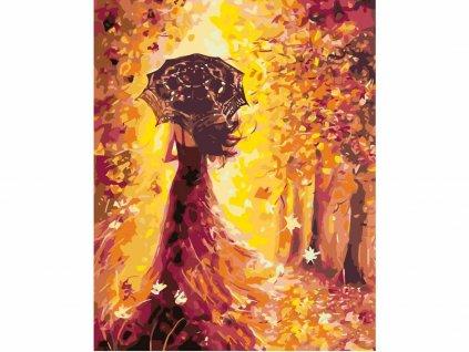 Malování podle čísel - ŽENA S DEŠTNÍKEM (Rozměr 80x100 cm, Rámování vypnuté plátno na rám)