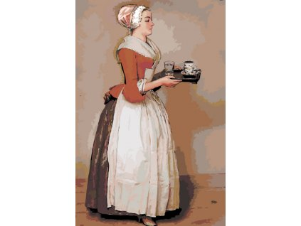Malování podle čísel - DÍVKA S ČOKOLÁDOU - JEAN-ÉTIENNE LIOTARD (Rámování vypnuté plátno na rám, Rozměr 80x120 cm)