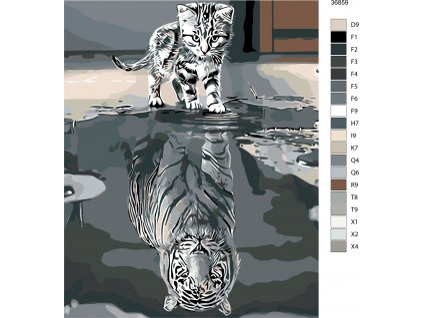 Malování podle čísel - KOTĚ NEBO TYGR (Rozměr 80x100 cm, Rámování vypnuté plátno na rám)