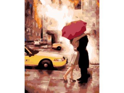 Malování podle čísel - ROMANTICKÉ SETKÁNÍ (Rámování vypnuté plátno na rám, Rozměr 80x100 cm)