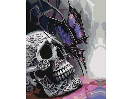 Malování podle čísel - LEBKA A MOTÝL