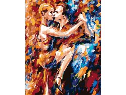 Malování podle čísel - VE VÁŠNI TANCE (Rámování vypnuté plátno na rám, Rozměr 80x100 cm)