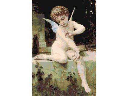 Malování podle čísel - MALÝ ANDĚL (Rámování vypnuté plátno na rám, Rozměr 80x120 cm)