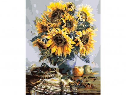 26268 7 malovani podle cisel kytice slunecnic podzimne ladena ramovani vypnute platno na ram rozmer 80x100 cm