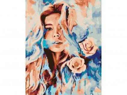 10347 malovani podle cisel ruzova zena ramovani vypnute platno na ram rozmer 80x100 cm