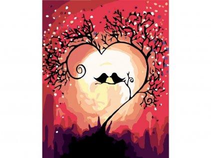 11511 malovani podle cisel ptacci v stromovem srdci ramovani vypnute platno na ram rozmer 80x100 cm