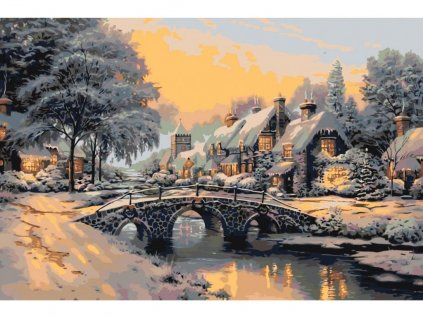 26882 7 malovani podle cisel most pres zamrzlou ricku ramovani vypnute platno na ram rozmer 80x120 cm