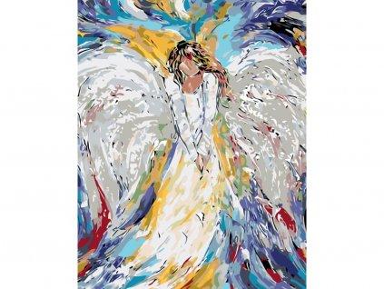 13698 malovani podle cisel andelska zena ramovani vypnute platno na ram rozmer 80x100 cm