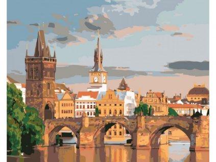 11967 malovani podle cisel pohled na karluv most ramovani vypnute platno na ram rozmer 80x100 cm