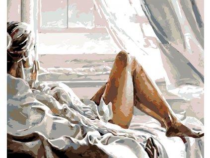 Malování podle čísel - POHLED Z OKNA (Rozměr 80x100 cm, Rámování vypnuté plátno na rám)