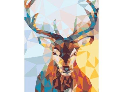 Malování podle čísel - JELEN (Rozměr 80x100 cm, Rámování vypnuté plátno na rám)