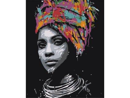 Malování podle čísel - AFRICKÁ KRÁSKA (Rozměr 80x100 cm, Rámování vypnuté plátno na rám)