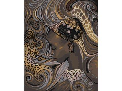 Malování podle čísel - AFRICKÁ DOMORODÁ DÍVKA (Rozměr 80x100 cm, Rámování vypnuté plátno na rám)