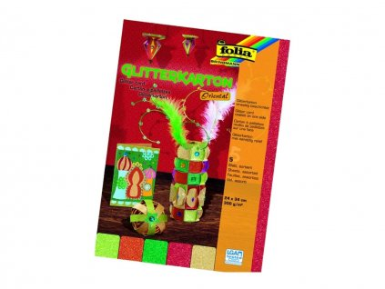 Papír VV motiv třpytky 300 g / B4 / 5 ks Oriental 300 g / 5 ks mix barev