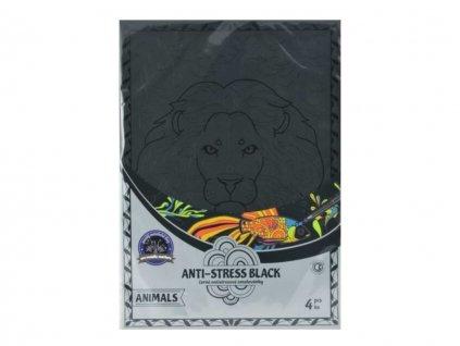 Omalovánky antistresové Zvířata A4 / 4 ks / černé