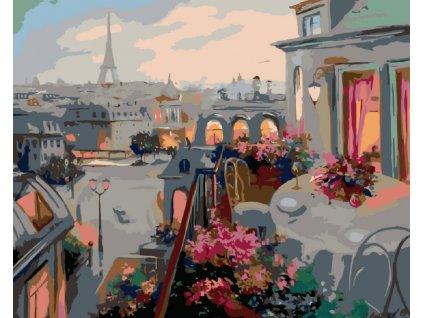 Malování podle čísel - PAŘÍŽ Z BALKONU (Rámování vypnuté plátno na rám, Rozměr 80x100 cm)