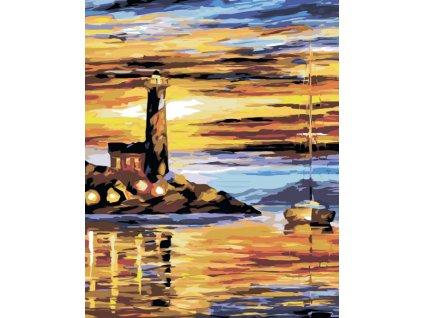 Malování podle čísel - MAJÁK A PLACHETNICE (Rámování vypnuté plátno na rám, Rozměr 80x100 cm)