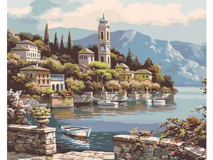 Malování podle čísel - ZÁTOKA S VESLICÍ (Rozměr 80x100 cm, Rámování vypnuté plátno na rám)