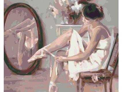 Malování podle čísel - BALETKA PŘED ZRCADLEM (Rámování vypnuté plátno na rám, Rozměr 80x100 cm)