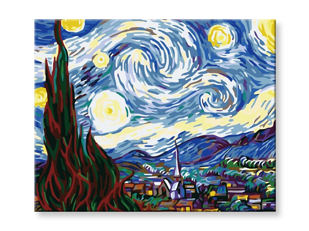 Malování podle čísel - Hvězdná noc - Vincent Van Gogh