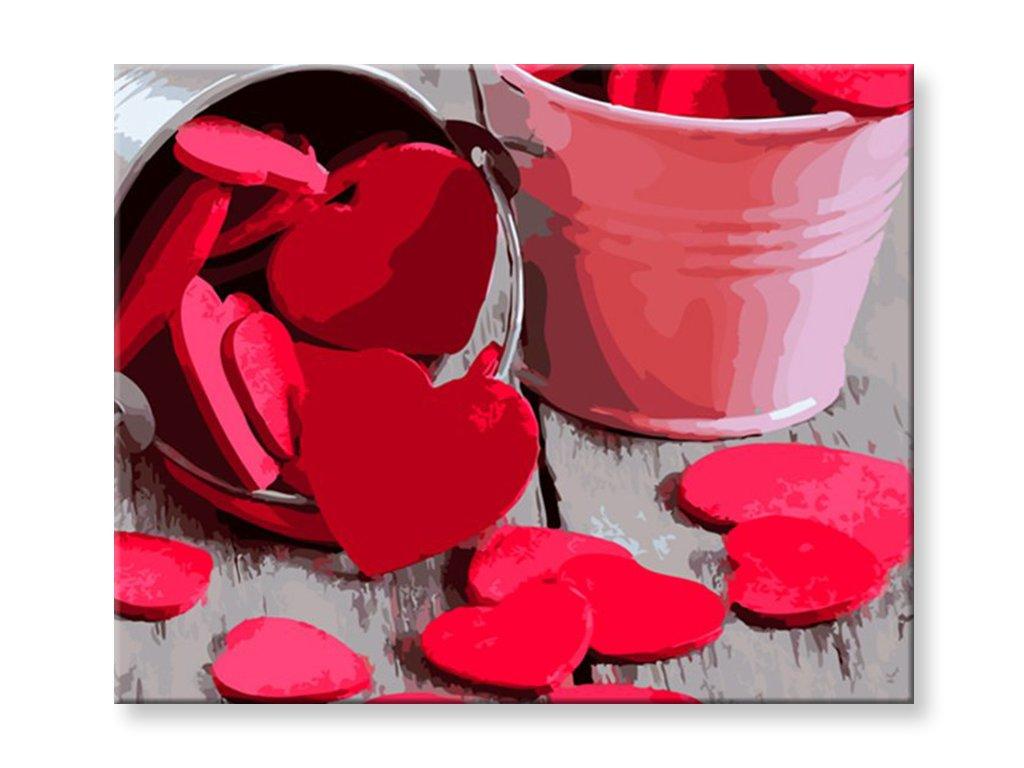 Malování podle čísel - Rozsypaná srdce