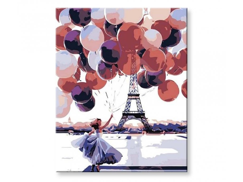 Žena s balónky u eiffelovky