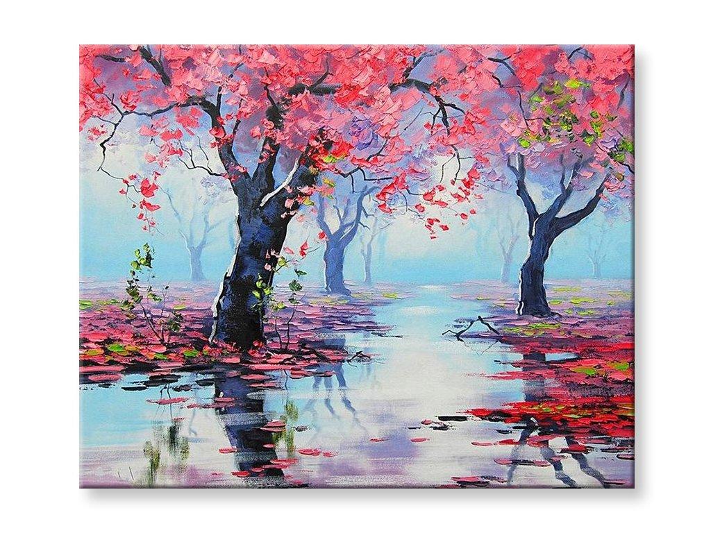Olejomalba růžové stromy