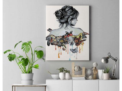 Malování podle čísel - Žena s motýli